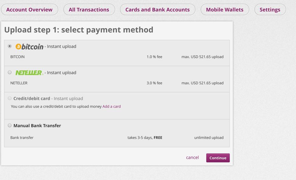 Skrill Deposits Bitcoin