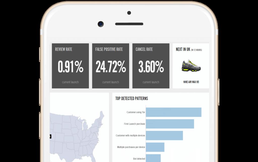 Feedzai iphone screen dashboard fraud detection