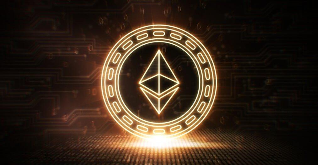 3D Ethereum representation on blockchain background
