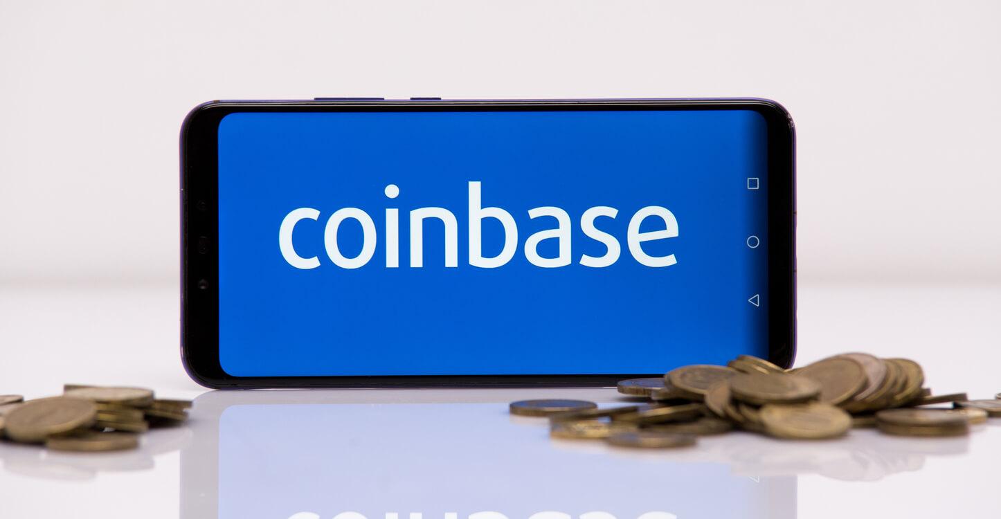 Coinbase trading platform displayed on smartphone