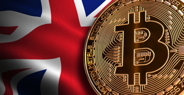 An image of the uk flag and bitcoin