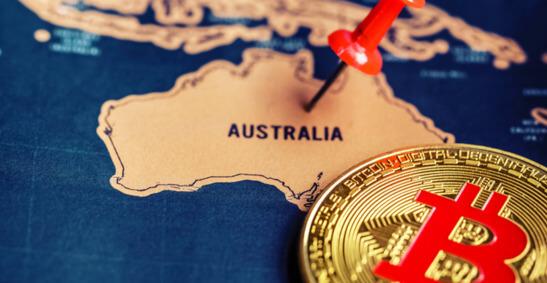 Image of Bitcoin on map of Australia