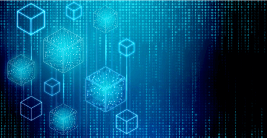 Blue connected blogs with binary data to represent a blockchain
