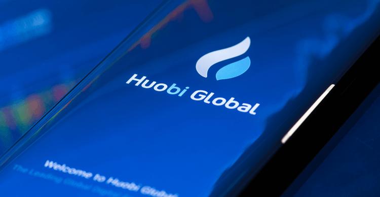 An image of the Huobi Global logo on a phone screen