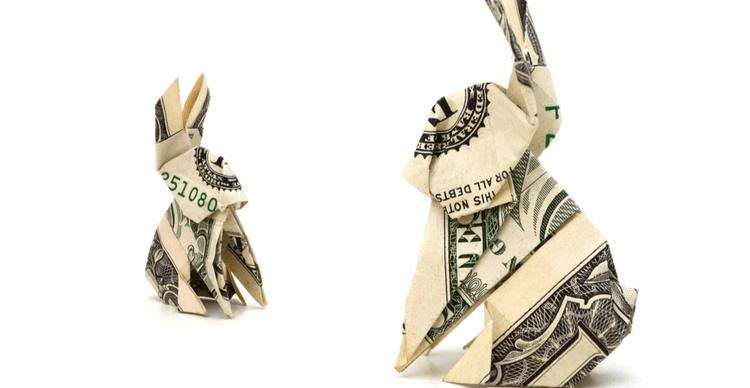 Two origami rabbits made form US dollar bills