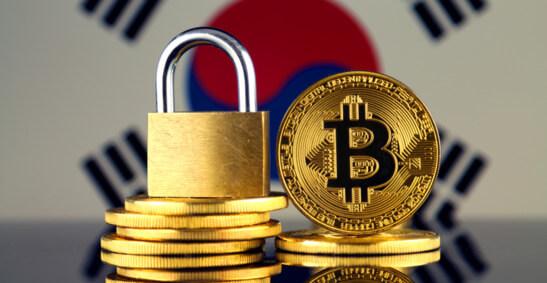 Image of Bitcoin and padlock with South-Korean flag